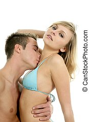 young sexy passion beautiful couple hugging - Young sexy...