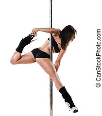 Young sexy pole dance woman - Young sexy woman exercise pole...