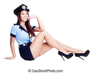 sexy policewoman - young sexy policewoman, isolated against...