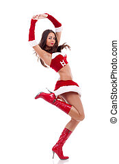 santa girl is jumping and dancing