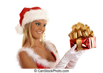 Young sexy Santa with a christmas gift isolated on white
