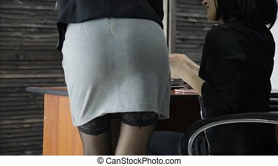 young sexy secretary is sexually harassing to her female...