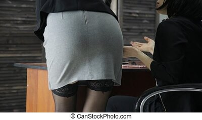 young sexy secretary is sexually harassing to her female boss. love affair at work