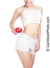 Young sexy woman body and hand holding red apple