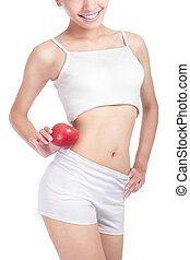 Young sexy woman body and red apple