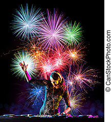 Young sexy woman dj playing music, firework on backround....