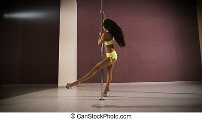 Young sexy woman exercise pole dance. Professional pole ...