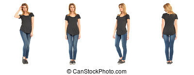 Young sexy woman in  jeans isolated