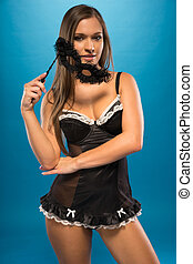 Young Sexy Woman in See Through Black with Mask