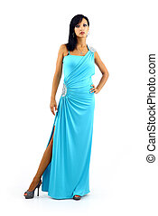 Young sexy woman in stylish blue dress isolated