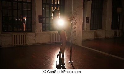 Young sexy woman pole dancing in hall at night