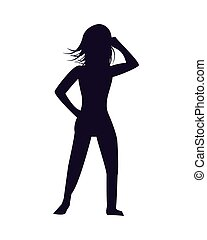 young sexy woman silhouette character