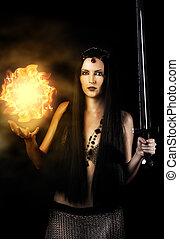 Young sexy woman witch warrior