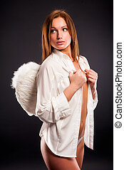 young sexy woman with angel wings