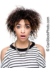 young shocked african american woman looking at camera isolated on white