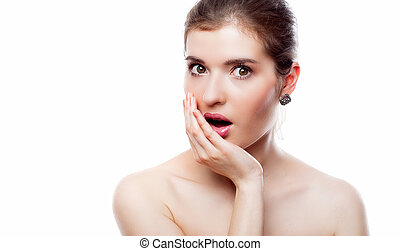Young shocked woman - Portrait of young shocked woman. ...