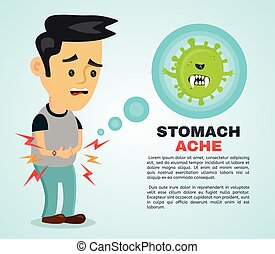 Young sick man having stomach ache, food
