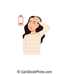 Young sick woman has headache icon isolated on white background. Cartoon stressed female person portrait with head pain or migraine. Tired character with sad face sign. Flat health vector illustration