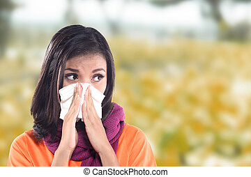Young sick woman having cold