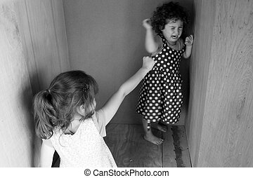 Young sidter girls fighting at home