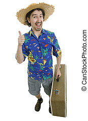 traveler - young silly man traveler, full body, isolated
