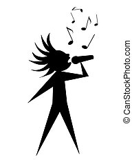 Young Singer - Singer - black symbolic vector silhouette