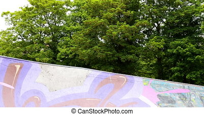 Young skateboarder skating the outdoor skatepark on a bright...