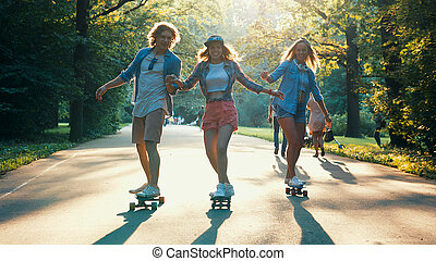 Young skateboarders on vacation