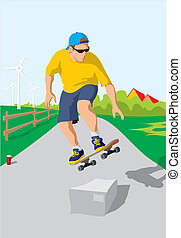 skateboard - young skateboardman learns to jump