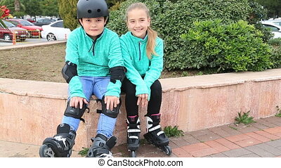 young skaters similing to camera