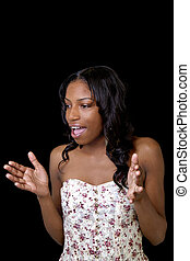 Young Skinny Black Woman Dress Mouth Open