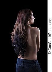 Young Skinny Hispanic Woman Bare Back Jeans