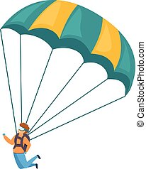 Young skydiver icon, cartoon style