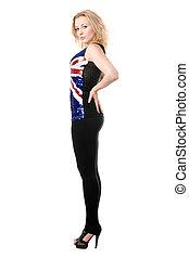 slender blonde in union-flag shirt