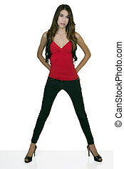 Young Slender Hispanic Woman Standing Jeans Heels