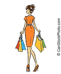 Young slim girl in short dress with shopping bags