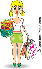 Young slim girl with gifts and shop