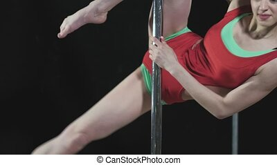 Young slim sexy pole dance woman fhd