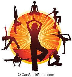 woman doing yoga - Young slim woman doing yoga gymnastics on...