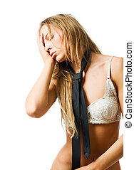 Young slim woman with headache