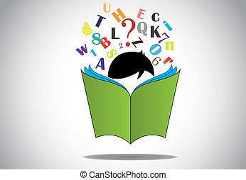young smart boy kid reading 3d green open book education concept. black haired child with book studying & learning for exams & fun with alphabets and numbers. learn or educate illustration art