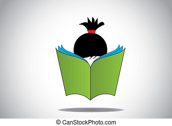 young smart girl kid reading 3d green open book education concept. black haired child with big book studying or learning for exams or for fun. learn or educate illustration art
