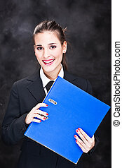 smiled business woman with files