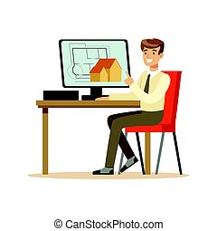 Young smiling architect working on his project using computer, colorful character vector Illustration