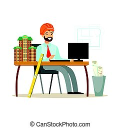 Young smiling architect working on his project at office, colorful character vector Illustration