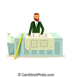 Young smiling architect working on his project at the desk, colorful character vector Illustration