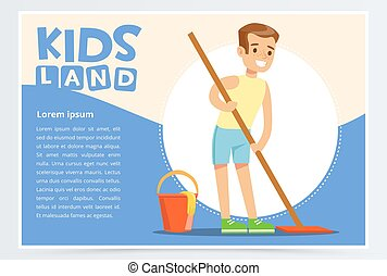 Young smiling boy cleaning the floor with mop. Kid doing home cleanup, household chores. Creative blue card with place for text. Vector character.