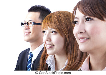Young smiling business woman and businessman