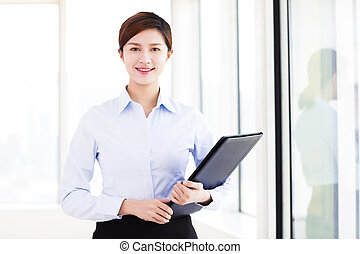 young smiling business woman in the office