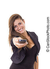 smiling business woman with tv remote